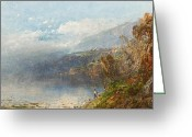 Anglers Greeting Cards - Autumn on the Androscoggin Greeting Card by William Sonntag