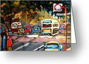 Crosswalk Painting Greeting Cards - Autumn On The Boulevard Greeting Card by Carole Spandau
