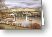 Dawn Jones Greeting Cards - Autumn On The Menai Bridge Greeting Card by Dawn Jones
