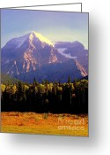 Mountain Peaks Greeting Cards - Autumn on the Mount Greeting Card by Karen Wiles