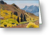 Autumn Leaves Pastels Greeting Cards - Autumn on the Road Less Traveled Greeting Card by Dana Schmidt