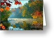 Indiana Autumn Photo Greeting Cards - Autumn on the White River I Greeting Card by Julie Dant