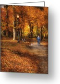 Nice Day Greeting Cards - Autumn - People - A walk in the park Greeting Card by Mike Savad