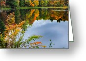Autumn Scenes Greeting Cards - Autumn Pond Greeting Card by Bill  Wakeley