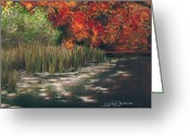Lilly Pad Painting Greeting Cards - Autumn Pond Greeting Card by Susan Jenkins