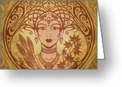 Gold Greeting Cards - Autumn Queen Greeting Card by Cristina McAllister