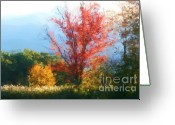 "\\\""photo Manipulation\\\\\\\"" Pastels Greeting Cards - Autumn Red And Yellow Greeting Card by Smilin Eyes  Treasures"