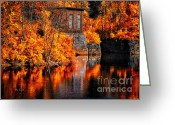 Water Reflections Greeting Cards - Autumn Reflections  Greeting Card by Bob Orsillo