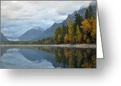 Lake Mcdonald Greeting Cards - Autumn Reflections Glacier National Park Greeting Card by Bruce Gourley