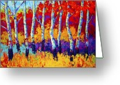 Red Leaves Painting Greeting Cards - Autumn Riches Greeting Card by Marion Rose