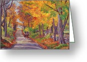 Viewed Greeting Cards - Autumn Ride Greeting Card by David Lloyd Glover