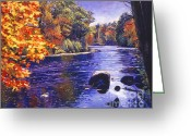 Fall Scene Greeting Cards - Autumn River Greeting Card by David Lloyd Glover