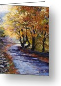 Autumn Leaves Pastels Greeting Cards - Autumn Road Home Greeting Card by Susan Jenkins