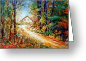 Autumn In The Country Painting Greeting Cards - Autumn Scene Quebec Secluded Cabin Edge Of The Woods Greeting Card by Carole Spandau
