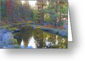 National Mixed Media Greeting Cards - Autumn Scenery Clear Creek - Scenic Idaho Greeting Card by Photography Moments - Sandi