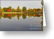Autumns Mixed Media Greeting Cards - Autumn Season on the Lake - Scenic Idaho Greeting Card by Photography Moments - Sandi