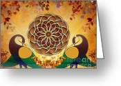 Whimsy Mixed Media Greeting Cards - Autumn Serenade - Mandala Of The Two Peacocks Greeting Card by Bedros Awak