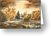 Scene Mixed Media Greeting Cards - Autumn Sky No W103 Greeting Card by Kip DeVore