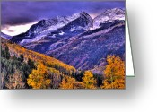 Purple Sky Greeting Cards - Autumn Snow and Purple Skies Greeting Card by Scott Mahon