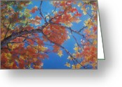 Red Leaves Pastels Greeting Cards - Autumn Splendor Greeting Card by Resa Grogan