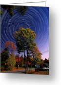 Startrail Greeting Cards - Autumn Star Trails in New Hampshire Greeting Card by Larry Landolfi