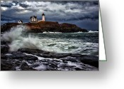 Nubble Greeting Cards - Autumn Storm at Cape Neddick Greeting Card by Rick Berk