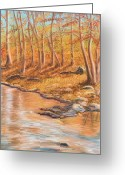 Orange Pastels Greeting Cards - Autumn Stream Greeting Card by Jan Amiss