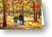 Hebrew Delis Greeting Cards - Autumn  Stroll On Mount Royal Greeting Card by Carole Spandau