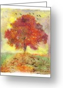 Gina Digital Art Greeting Cards - Autumn sunset Greeting Card by Gina Signore