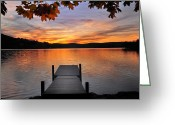 Autumn Scenes Greeting Cards - Autumn Sunset Greeting Card by Thomas Schoeller
