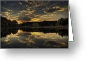 Changing Colors Greeting Cards - Autumn Sunset Greeting Card by Thomas Young
