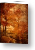 Foot Bridge Greeting Cards - Autumn Tapestry - Lake Carasaljo Greeting Card by Angie McKenzie