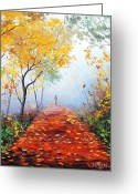 Elm Greeting Cards - Autumn Trail Greeting Card by Graham Gercken