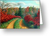 Canadian Landscape Greeting Cards - Autumn Trail Greeting Card by Otto Werner