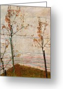 Autumn Season Greeting Cards - Autumn Trees Greeting Card by Egon Schiele