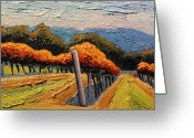 Mountain Vineyards Greeting Cards - Autumn Vineyard Greeting Card by Christopher Mize