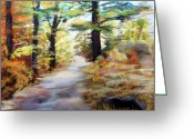 Autumn Landscape Pastels Greeting Cards - Autumn Walk in the Woods Greeting Card by Trudy Morris