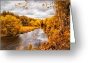 River. Clouds Greeting Cards - Autumn White Mountains Maine Greeting Card by Bob Orsillo