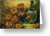 Flower Still Life Prints Painting Greeting Cards - Autumn Wine Greeting Card by Rebecca Kimbel