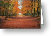 Autumn Landscape Pastels Greeting Cards - Autumn Woods 2 Greeting Card by Paul Mitchell