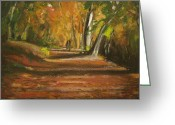 Autumn Landscape Pastels Greeting Cards - Autumn Woods 4 Greeting Card by Paul Mitchell