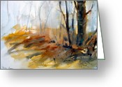 Ontario Mixed Media Greeting Cards - Autumn Woods Greeting Card by Myra Evans