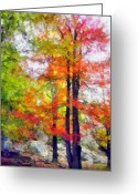 Cave Mixed Media Greeting Cards - Autumnal Rainbow Greeting Card by Angelina Vick