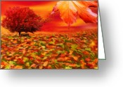 Red Maple Greeting Cards - Autumnal Scene Greeting Card by Lourry Legarde