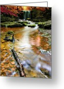Flowing Greeting Cards - Autumnal Waterfall Greeting Card by Meirion Matthias