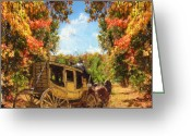 Horse And Buggy Greeting Cards - Autumns Essence Greeting Card by Lourry Legarde
