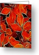 Red Leaves Pastels Greeting Cards - Autums blood Greeting Card by Stefan Kuhn