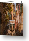 Guido Tapestries Textiles Greeting Cards - autunno a Venezia Greeting Card by Guido Borelli