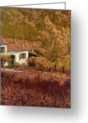 Farm Painting Greeting Cards - Autunno Rosso Greeting Card by Guido Borelli