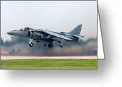 Landing Greeting Cards - AV-8B Harrier Greeting Card by Adam Romanowicz